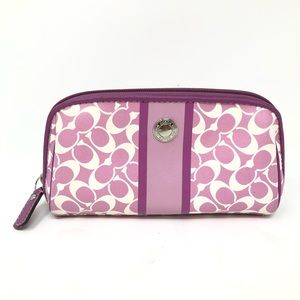 Coach Pink White Small Makeup Cosmetics Bag
